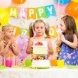 Stock Photo: Group of kids at birthday party
