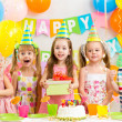 Kids or children on birthday party — Stock Photo #34057549