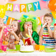 Stock Photo: Kids and clown at birthday party