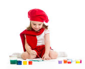 Artist kid girl drawing and painting — Stock Photo