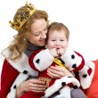 Mother and her son in suit of Christmas king isolated on white — Stock Photo