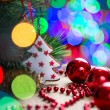 Christmas tree over bright festive background — Stockfoto