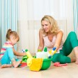 Mother and her daughter ready to room cleaning — Foto de Stock