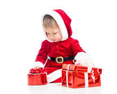 Santa Claus baby girl with gift box isolated — Stock Photo