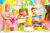Happy kids celebrating birthday party — Stock Photo