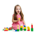Kid girl playing with block toys — Stock Photo