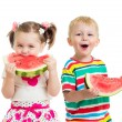Stock Photo: Kids boy and girl eat watermelon isolated on white