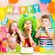 Children and clown at birthday party  — Foto de Stock