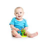 Pretty baby with color educational toy — Stock Photo