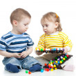 Kids play with mosaic toy — Stok fotoğraf