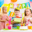 Group of kids at birthday party — Stock Photo