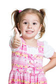 Happy smiling kid girl with ok hand sign — Stockfoto