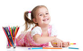 Kid girl drawing with pencils — Stockfoto