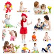 Group of kids or children paint with brush or fingers — Stock Photo