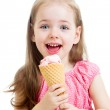 Joyful child girl eating ice cream — Stock Photo #36779593