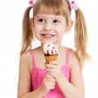 Joyful child girl with ice-cream isolated on white — Stock Photo #36871183