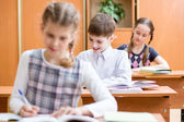 Schoolkids work at lesson in classroom — Stock Photo