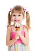 Joyful child girl with ice-cream isolated on white — Stock Photo
