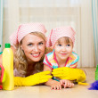 Mother and her child ready to room cleaning — Stok fotoğraf