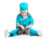 Child girl playing doctor with cat isolated — Stock Photo