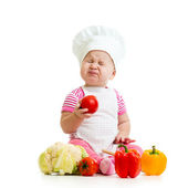 Baby dressed cook — Stock Photo