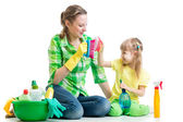 Mother and kid clean room having fun — Stock Photo