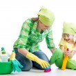 Housewife mother and kid do homework together — Stock Photo