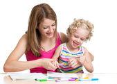 счастливая мать и ребенок живопись — Стоковое фото