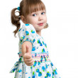 Child girl showing thumbs up — Stock Photo #40797555
