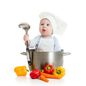 Cook baby with healthy food isolated on white — Stock Photo
