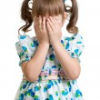Scared or crying or playing bo-peep kid hiding face — Stock Photo