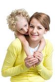 幸福的母亲和女儿被隔绝在白色背景上 — 图库照片