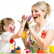 Mother with child paint and have fun pastime — Stock Photo #41742397