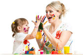 Mother with child paint and have fun pastime — Stock Photo