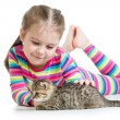 Foto Stock: Happy child girl with cat kitten