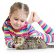 Stock Photo: Happy child girl with cat kitten