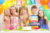 Kids preschoolers celebrating birthday party — Stock Photo