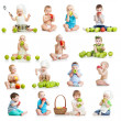 Set of babies and kids eating apples, isolated on white — Stockfoto