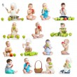 Stock Photo: Set of babies and kids eating apples, isolated on white