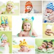 Set of funny babies or children weared in hats — Stock Photo