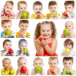 Collection of babies and kids eating apples, isolated on white — Photo