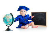Baby in academician clothes  with globe and chalkboard — Stock Photo