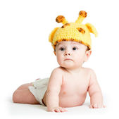 Infant baby boy weared girraffe hat — Stock Photo