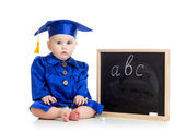 Baby in academician clothes  with chalkboard — Stock Photo