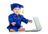 Funny baby in academician clothes  with laptop — Stock Photo