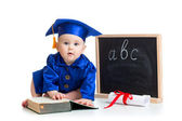 Baby in academician clothes  with pointer and chalkboard — Stock Photo