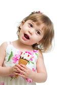 Smiling kid girl eating icecream — Stock Photo