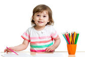 Child girl drawing with color pencils — Stock Photo