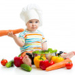 Baby chef with healthy food vegetables — Stock Photo #45913081
