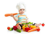 Baby chef with healthy  food vegetables — Photo